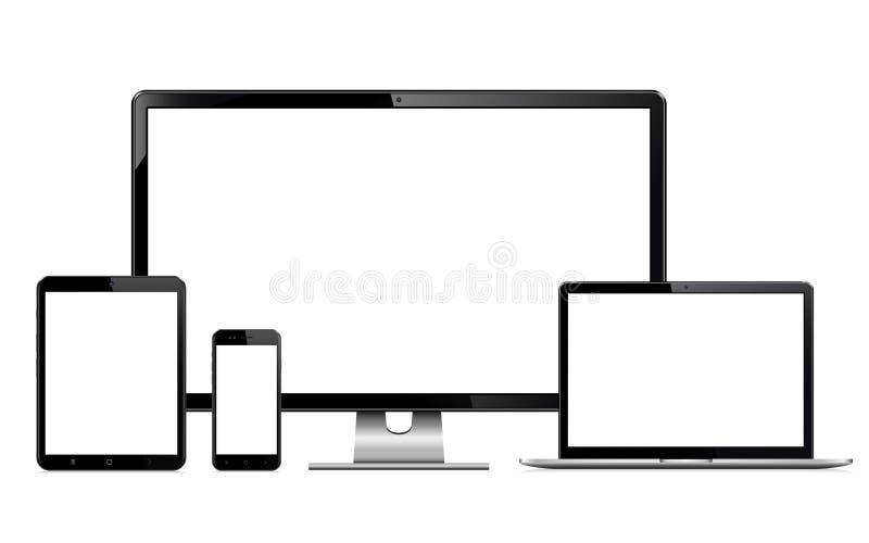 Illustrationssatz der hohen Qualität moderne Technologiegeräte - Computermonitor, Laptop, digitale Tablette und Handy mit freiem  stockbilder