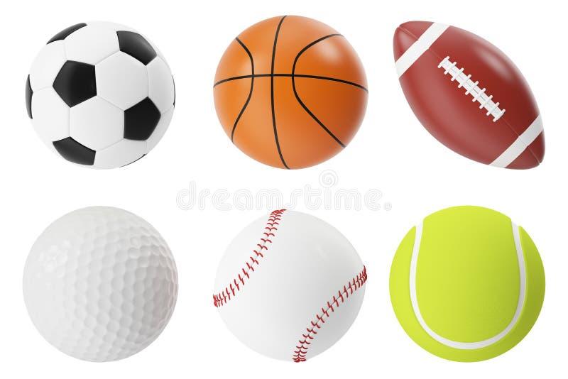 Illustrationssatz der Sportbälle 3d Basketball, Fußball, Tennis, Fußball, Baseball und Golf lizenzfreie abbildung