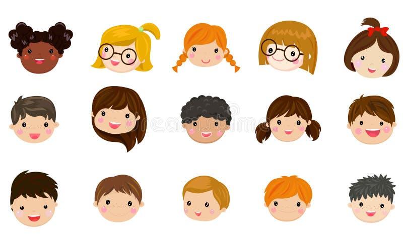Illustrationssatz verschiedene Avataras von Jungen und von M?dchen auf einem wei?en Hintergrund stock abbildung