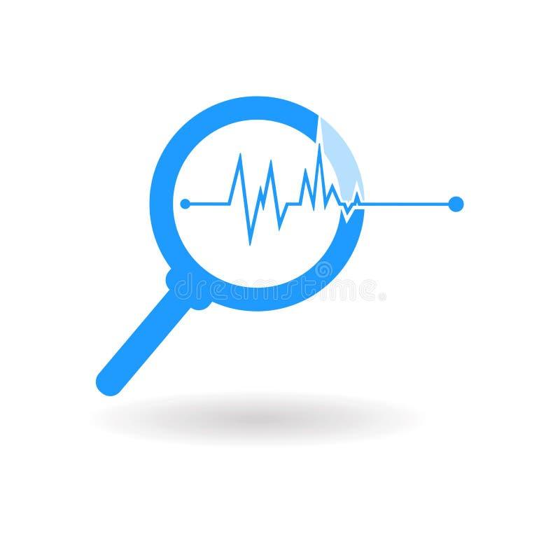 Illustrationsschattenbild, blaue Ikone der Lupe lokalisiert auf weißem Hintergrund lizenzfreie abbildung