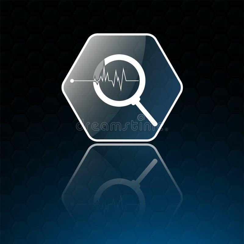 Illustrationsschattenbildfloss auf Hintergrund, blaue Ikone der Lupe lokalisiert auf blauem Hintergrund lizenzfreie abbildung