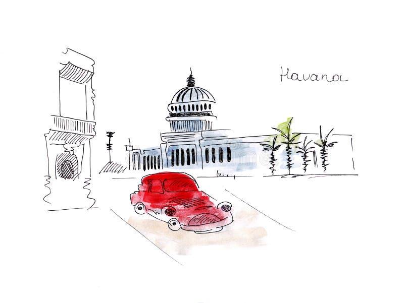 Illustrationsskizze der Republik- Kubahauptstadt Havana-Marksteine und der Gebäude und der Weinleseautos lizenzfreie abbildung
