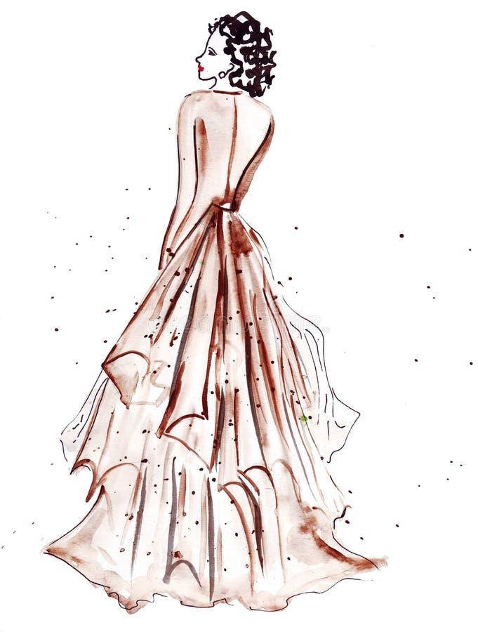 Illustrationsskizze der weiblichen Mode in der unterschiedlichen Kleidung, gemalt mit hellen Acrylfarben und Tintenschwarzem vektor abbildung