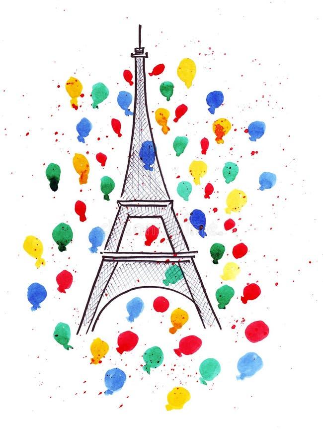 Illustrationsskizze des berühmten Symbols Paris-Eiffelturms, in einem Spray von Feuerwerken, färbte Ballone und lässt Aquarell fa stock abbildung