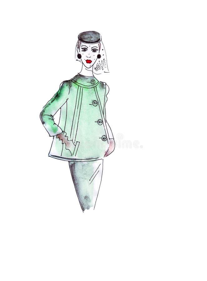 Illustrationsskizzenfrau in einer grünen Jacke mit breiten Knöpfen, einem Rock und einem Umhang auf dem ursprünglichen Hut vektor abbildung