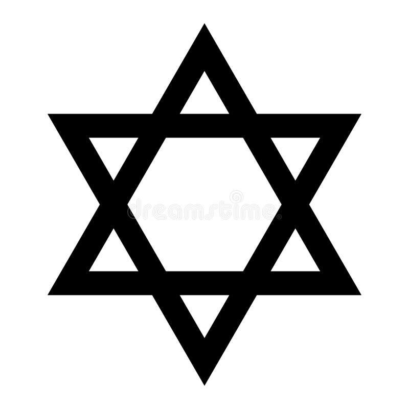 illustrationstjärna för 3d david Hexagramtecken Symbol av den judiska identiteten och judendom Enkel illustration för plan svart vektor illustrationer