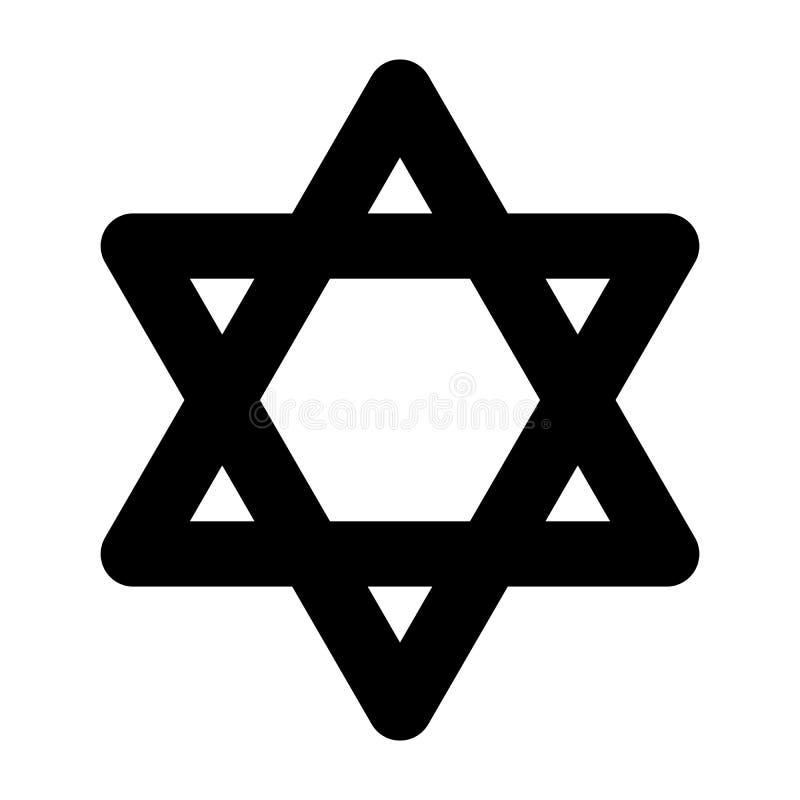 illustrationstjärna för 3d david Hexagramtecken Symbol av den judiska identiteten och judendom Enkel illustration för plan svart  stock illustrationer