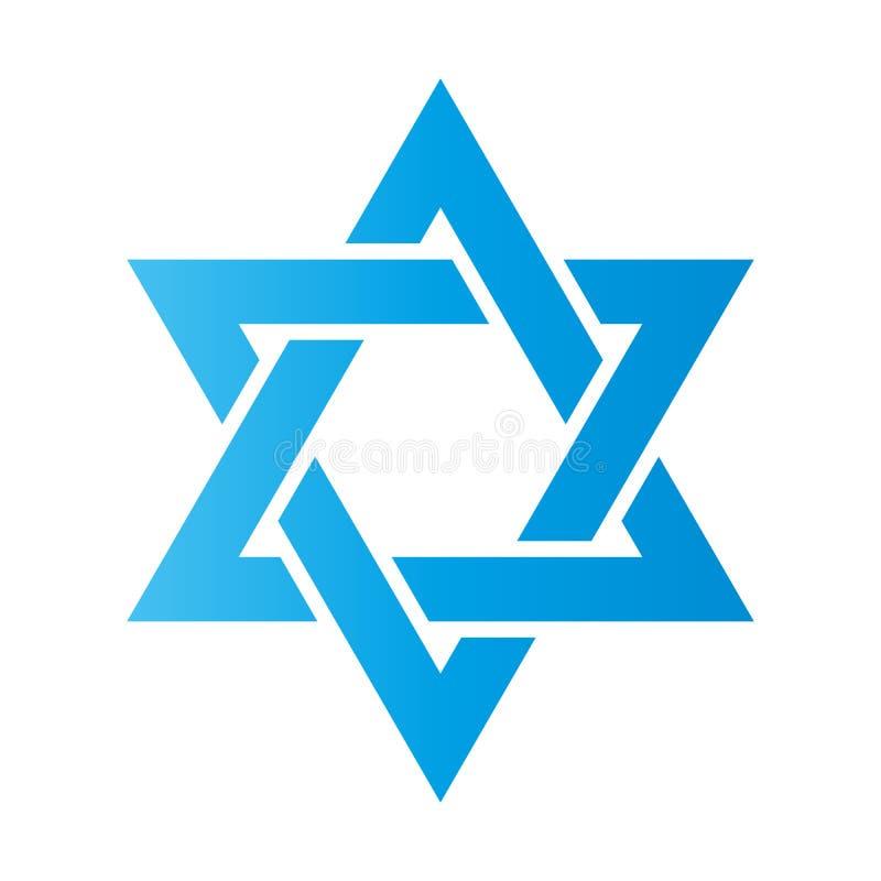 illustrationstjärna för 3d david Hexagramtecken Symbol av den judiska identiteten och judendom Enkel lägenhetblåttillustration stock illustrationer