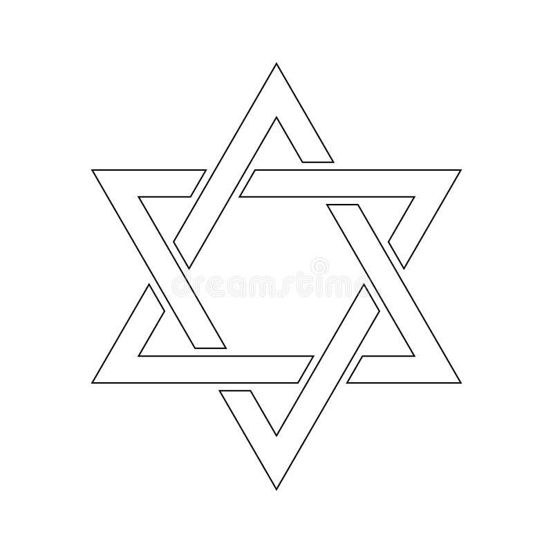 illustrationstjärna för 3d david Hexagramtecken Symbol av den judiska identiteten och judendom Enkel plan vit illustration med tu vektor illustrationer
