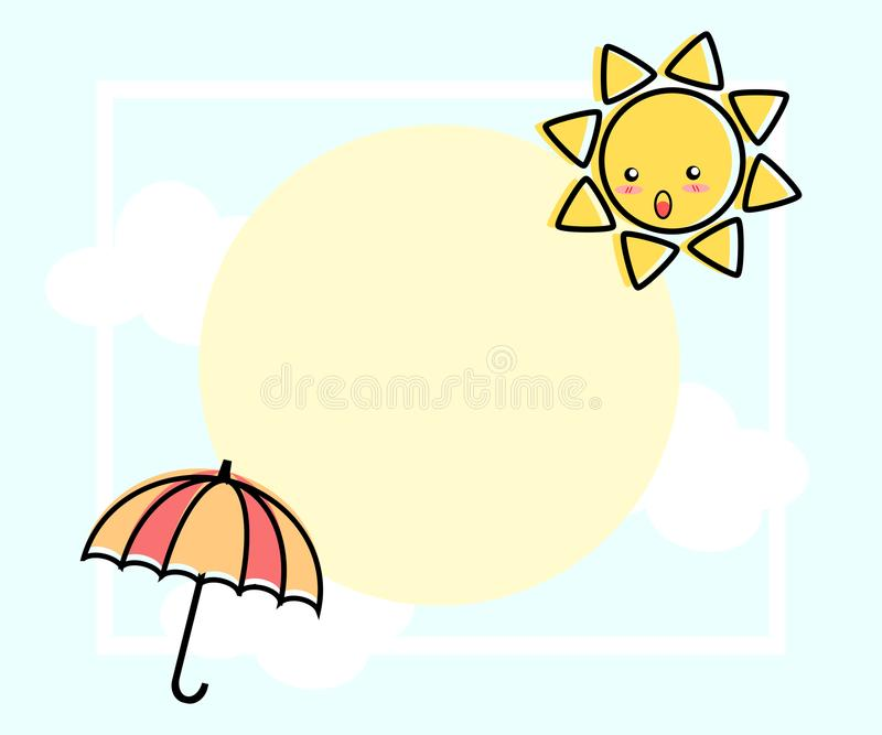 Illustrationsvektor der netten Karikatur, der Sonne und des Regenschirmes vektor abbildung