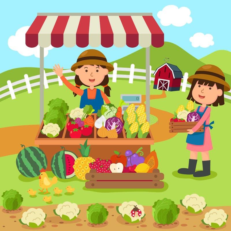 Illustrationtecknad filmkvinnan säljer nya grönsaker och frukter vektor illustrationer