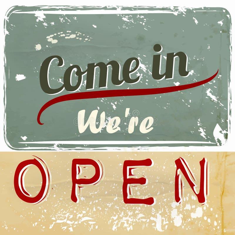Illustrationtecknet med häftet är vi öppna för kafé och annat stock illustrationer