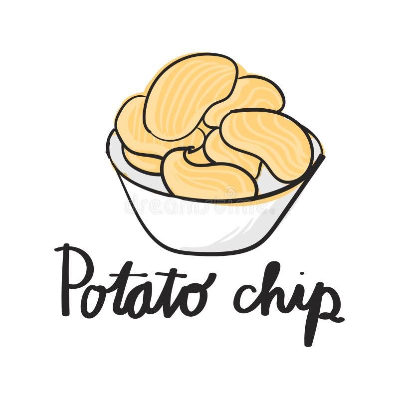 Illustrationteckningsstil av potatischiper vektor illustrationer