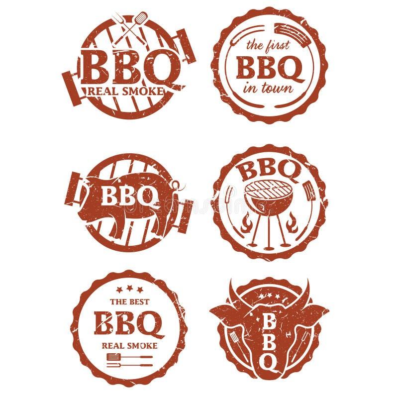 Illustrationuppsättning av bbq-etiketter royaltyfri illustrationer