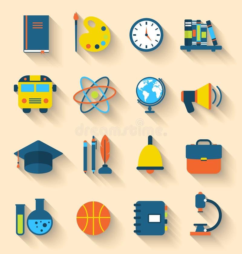 Illustrationuppsättning av färgrika symboler för utbildningslägenhet vektor illustrationer