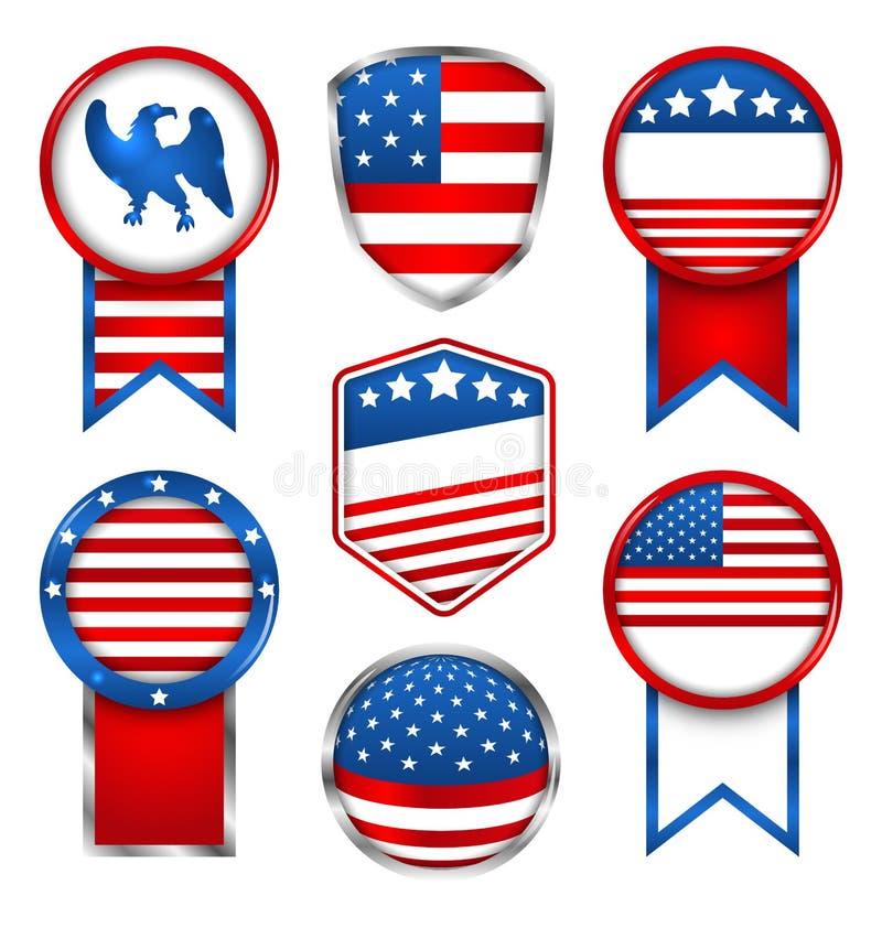 Illustrationuppsättning av olika diagram och etiketter, emblem i traditionella amerikanska färger stock illustrationer