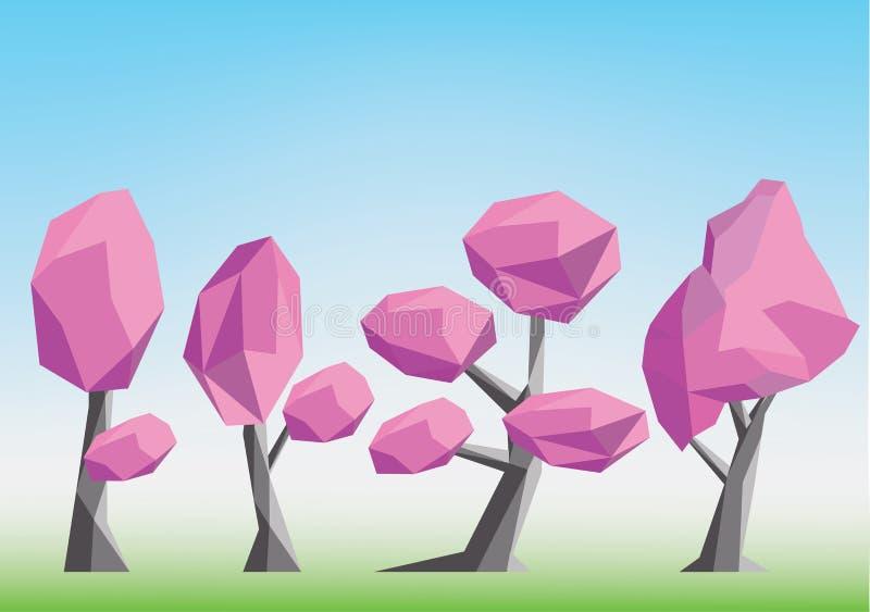 Illustrationuppsättning för körsbärsröda träd - lågt poly vektor illustrationer