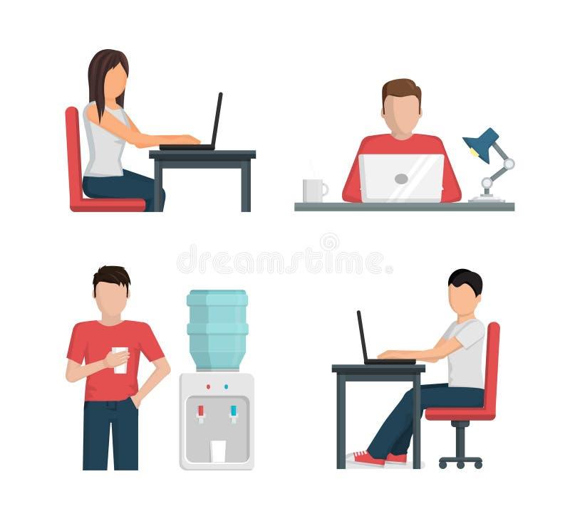Illustrationuppsättning, folk på arbete genom att använda bärbara datorn och att ha ett avbrott vektor illustrationer