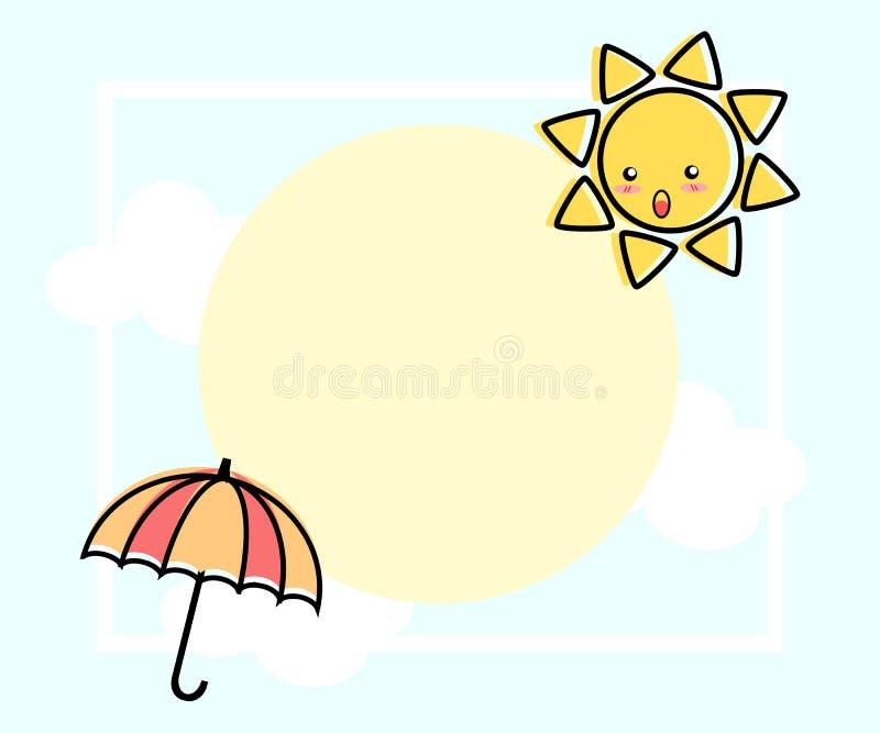 Illustrationvektor av den gulliga tecknade filmen, solen och paraplyet vektor illustrationer