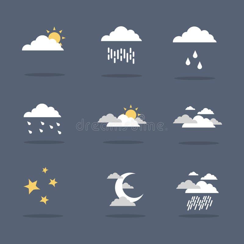 Illustrationvektor av vädersymbolsuppsättningen stock illustrationer