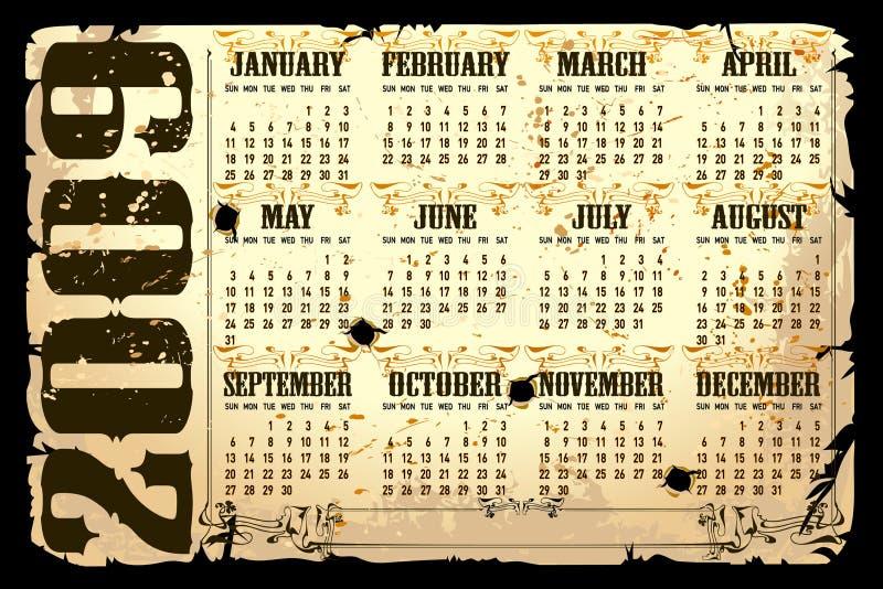 illustrationvektor för 2009 kalender royaltyfri illustrationer