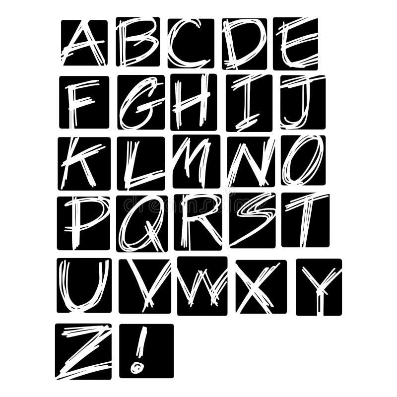 Illustrationvektoralfabet Hand dragen engelsk uppercase lett vektor illustrationer