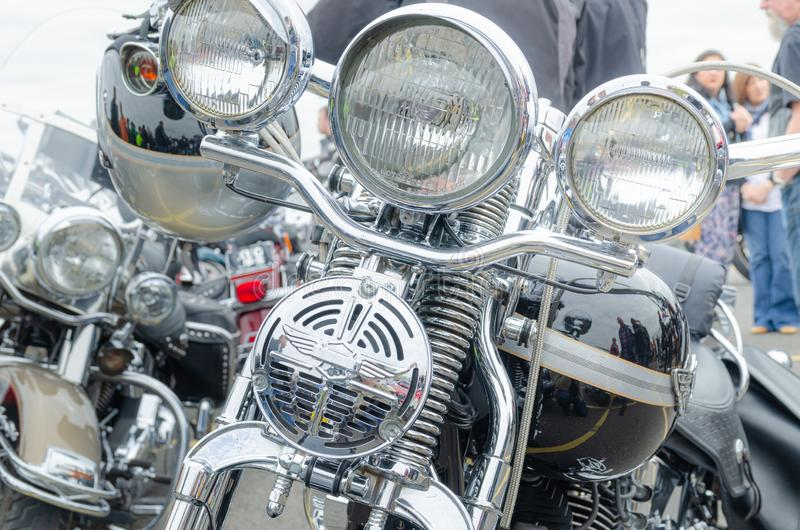 Illustrative Editorial: Harley Davidson light stack and handle bars stock photo