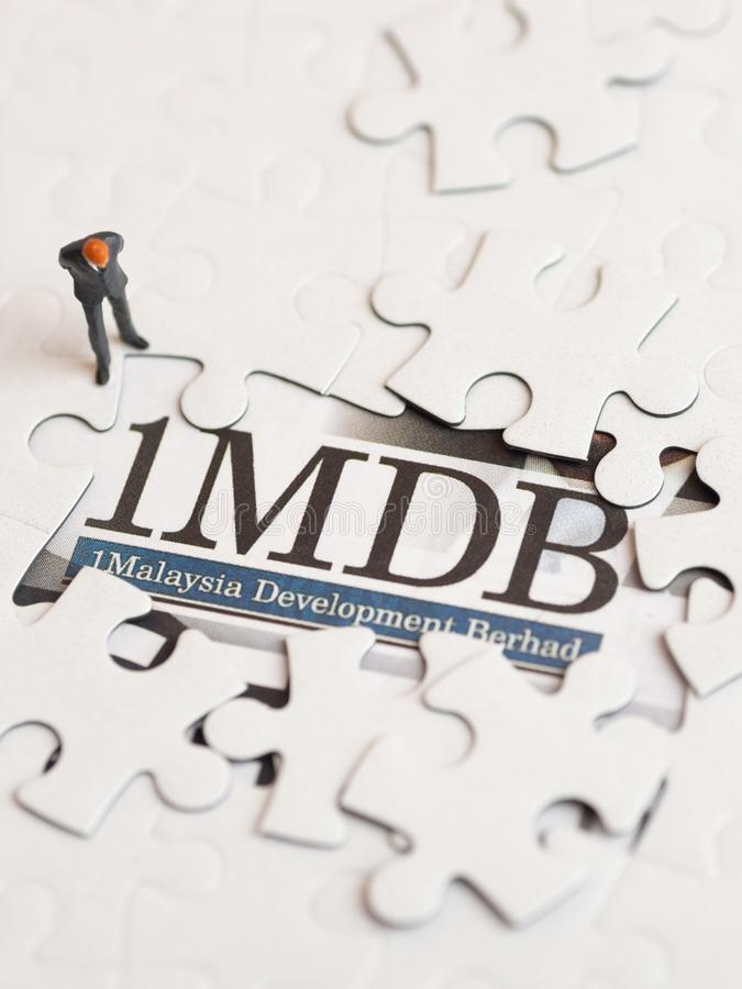 Illustrative editorial of 1MDB scandal concept royalty free stock images