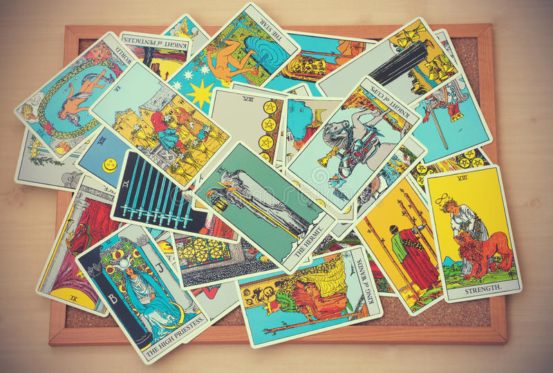 illustrative editorial Rider Waite tarot cards in vintage tone royalty free stock photos