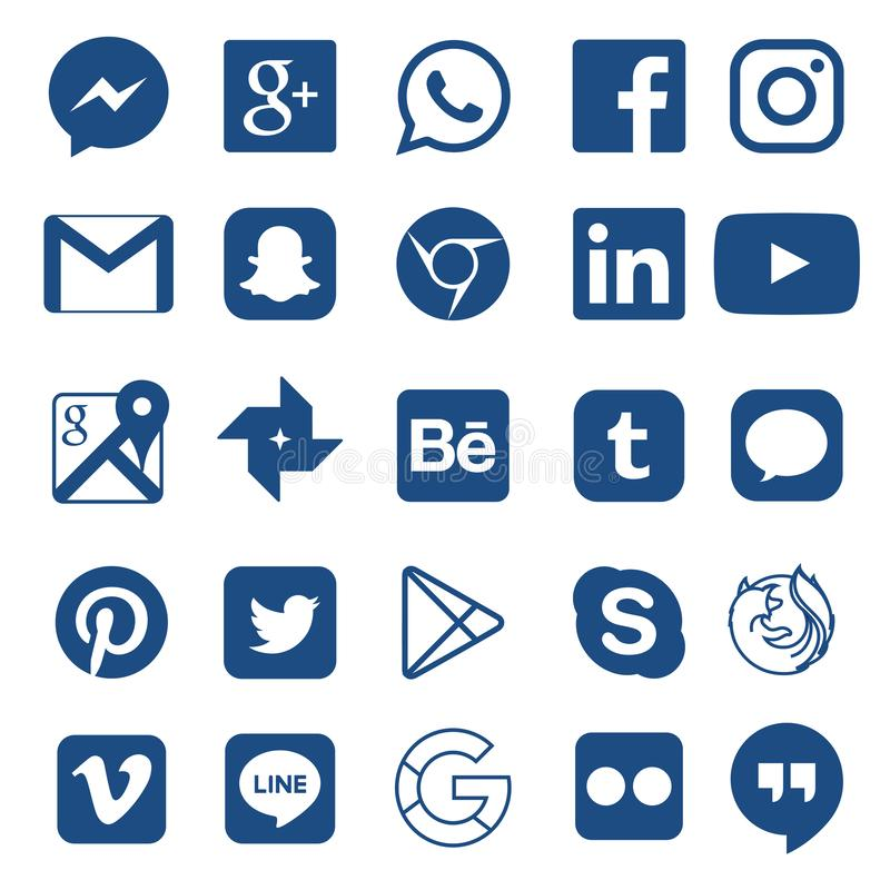 Social media icon for Facebook, Whatsapp, Skype, Youtube, Instagram, Snapchat, Hangout, Twitter royalty free illustration