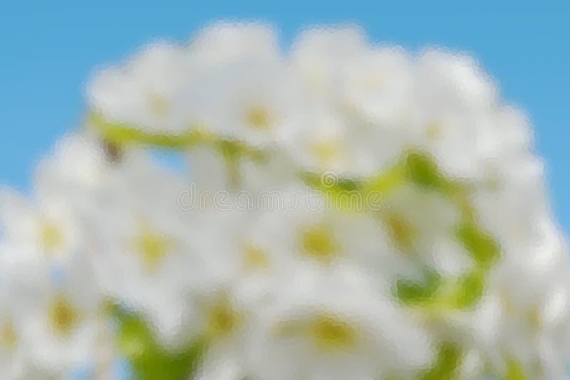 Illustrativer Hintergrund des weißen Blütenstands des Obstgartens gegen einen blauen Himmel mit Unschärfe- und Kristallisation lizenzfreie stockfotografie