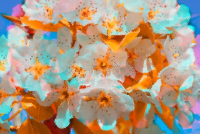 Illustrativer Hintergrund des weißen Blütenstands des Obstgartens mit den Störschub- und Kristallisationseffekten Heller und n lizenzfreie stockfotografie