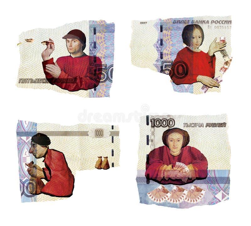 Illustrativer Leitartikel Illustrative Collage Männer und Frauen Unterschiedliche Haltung zum Geld Miserliness, Unehrlichkeit, Wi stockfoto