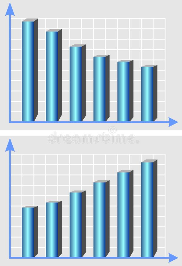 Illustrativt diagram, mall med metalliska kolonner för blått 3d och kurva för resningtrend, infographic beståndsdel som stiger oc royaltyfri illustrationer