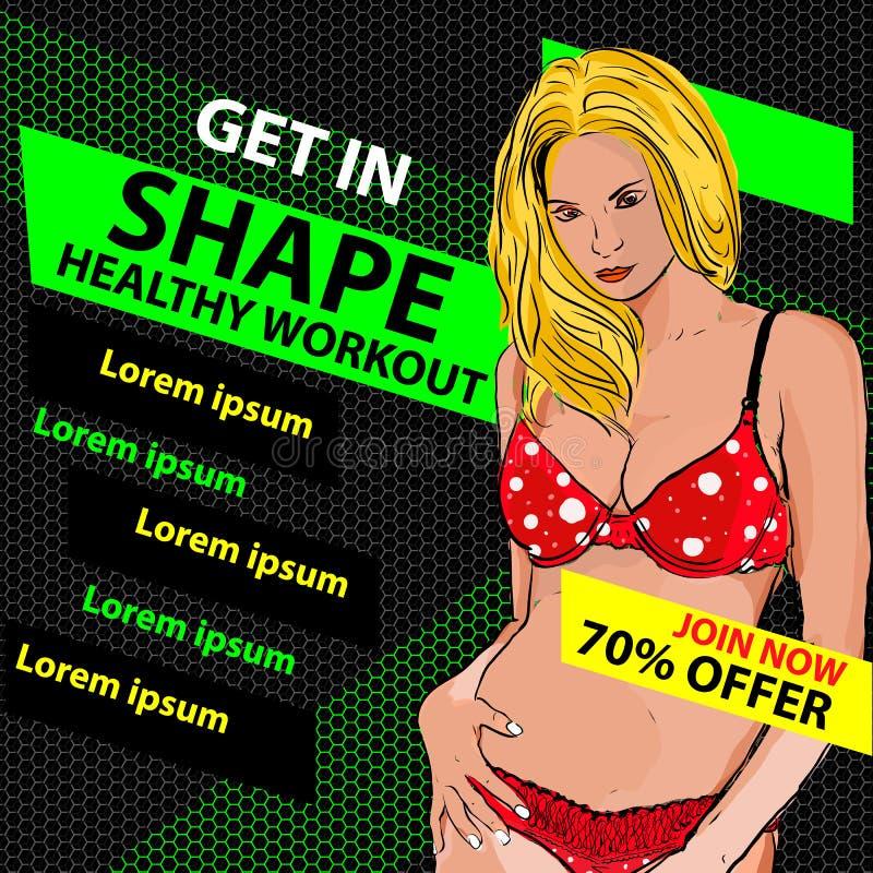 Illustrativt hjältebaner för vektor av den sunda livsstilen, kondition och genomköraren Välbefinnandehjältewebsite stock illustrationer
