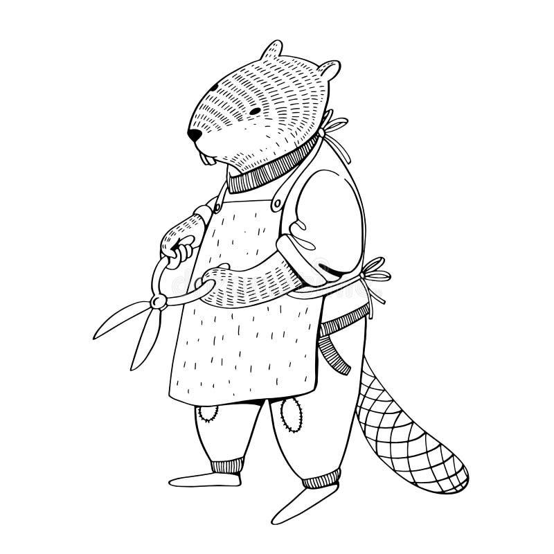 Illustratoin del vector El animal lindo le gusta seres humanos El jardinero del castor en delantal con tijeras stock de ilustración