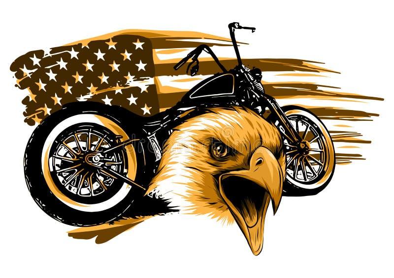 Illustraton en motorcykel med den huvudörnen och amerikanska flaggan royaltyfri illustrationer