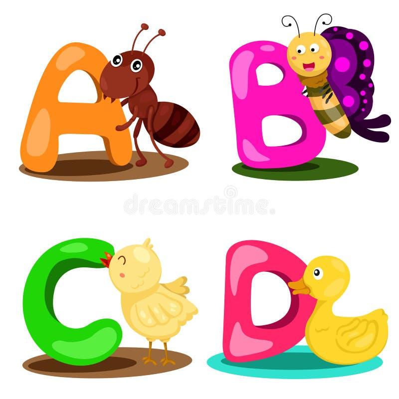 Illustrator alphabet animal LETTER - a,b,c,d. Cute and education stock illustration