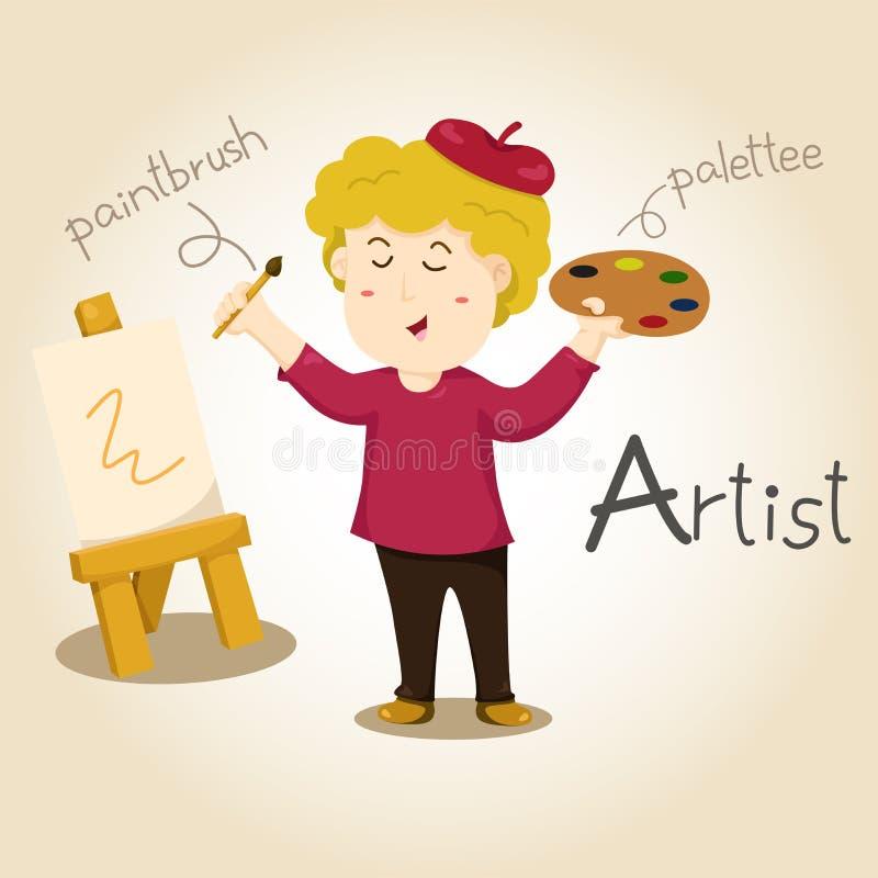 Illustrator of Artist alphabet Profession. Letter A stock illustration