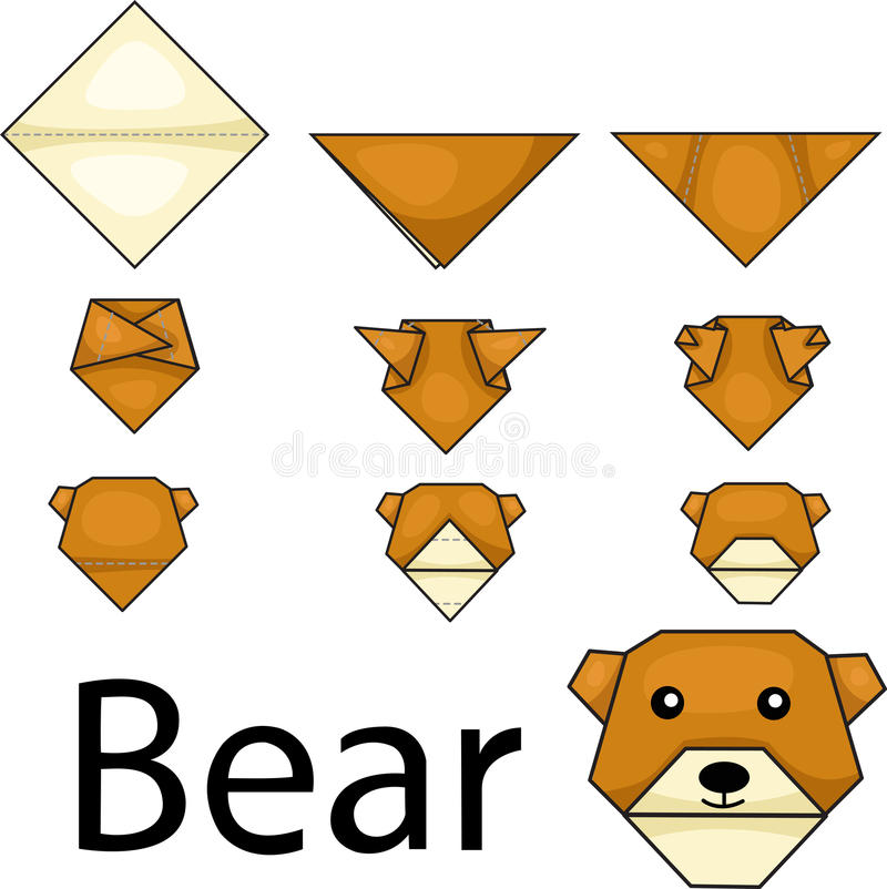 Illustrator of bear origami royalty free illustration