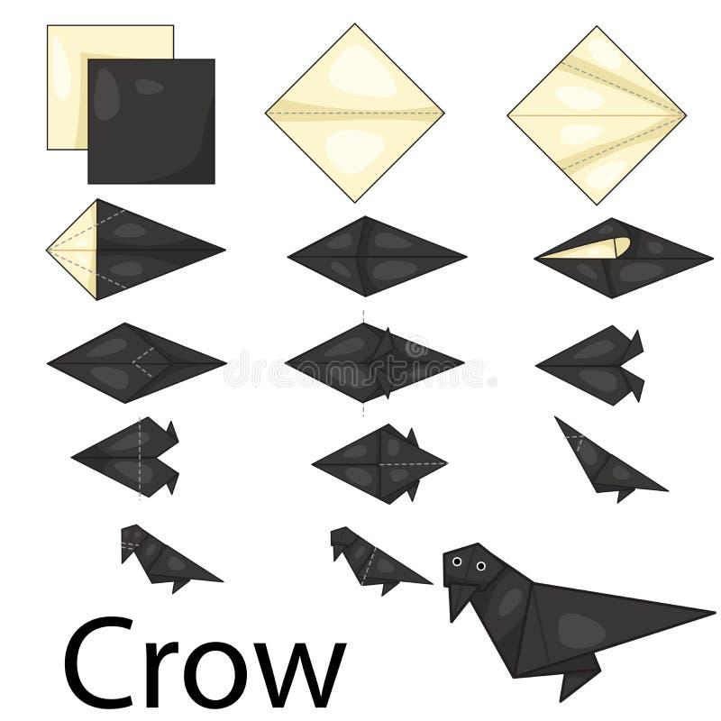 Illustrator of Crow origami. Amimal vector illustration