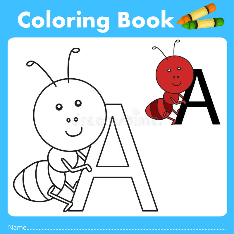Illustrator of color book with ant animal. Isolated for education royalty free illustration