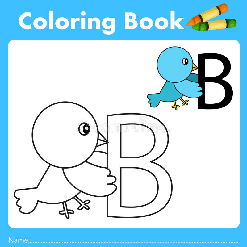 Illustrator of color book with bird animal. Isolated for education royalty free illustration