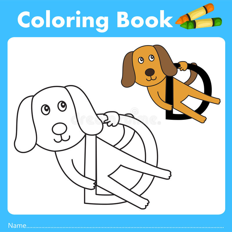 Illustrator of color book with dog animal. Isolated for education stock illustration