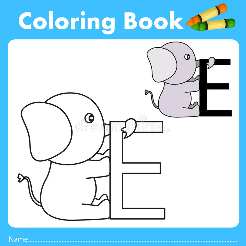 Illustrator of color book with elephant animal. Isolated for education royalty free illustration