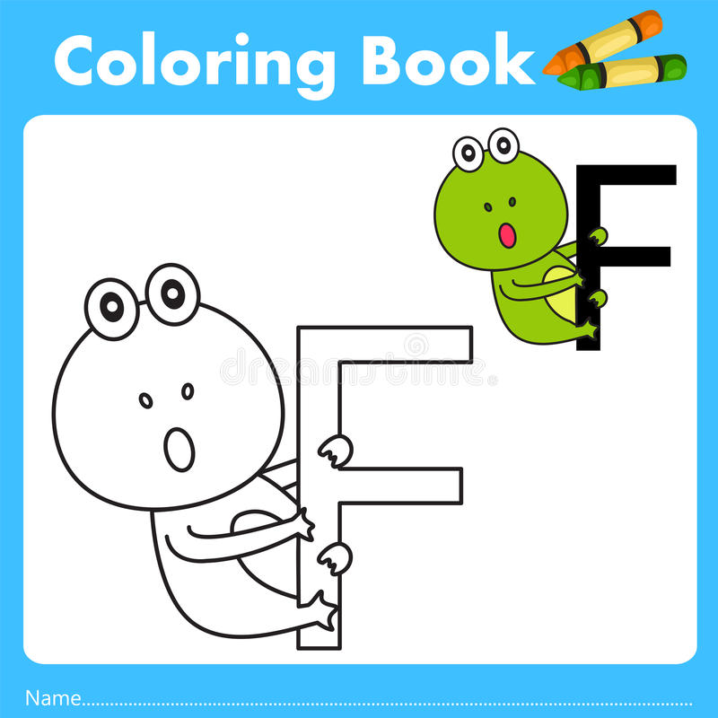 Illustrator of color book with frog animal. Isolated for education stock illustration