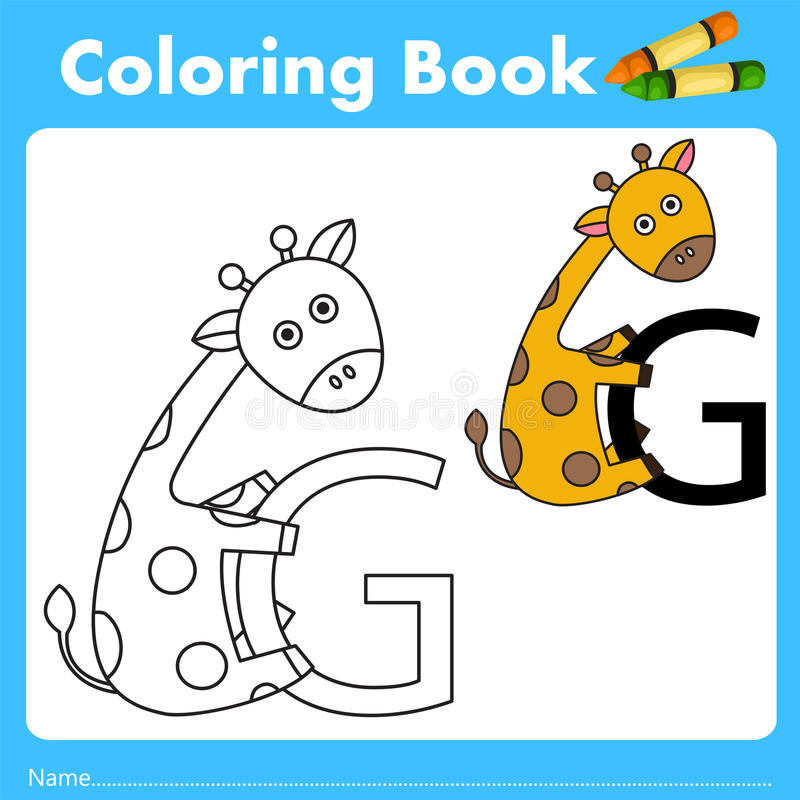 Illustrator of color book with giraffe animal. Isolated for education vector illustration