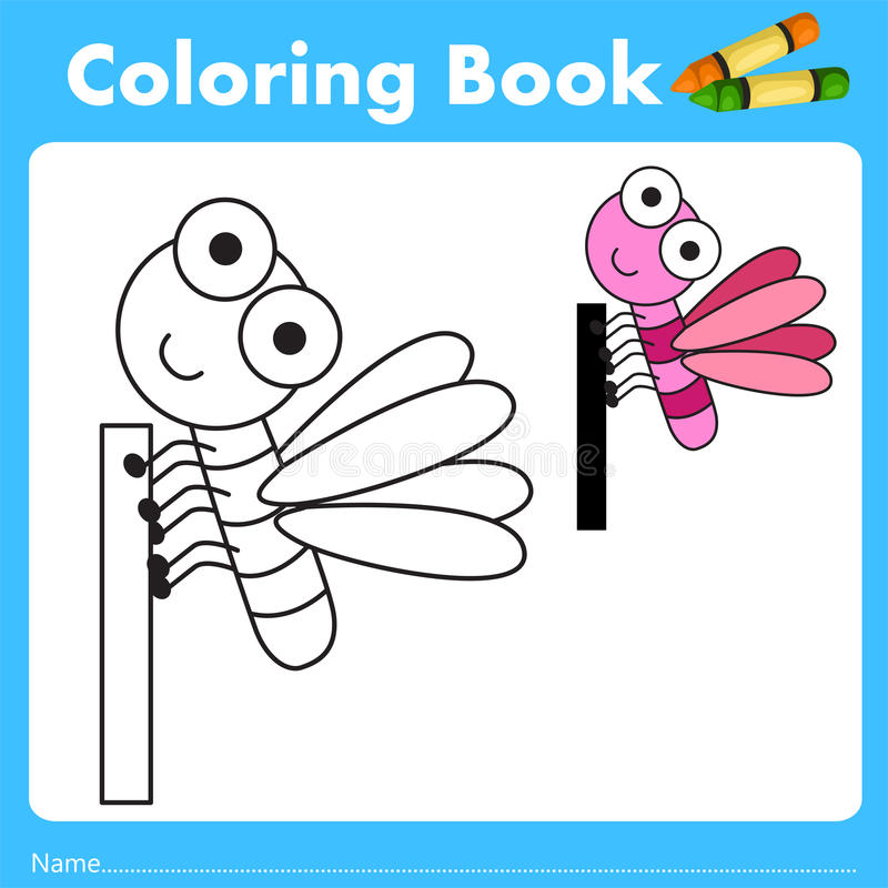 Illustrator of color book with insect animal. Isolated for education stock illustration