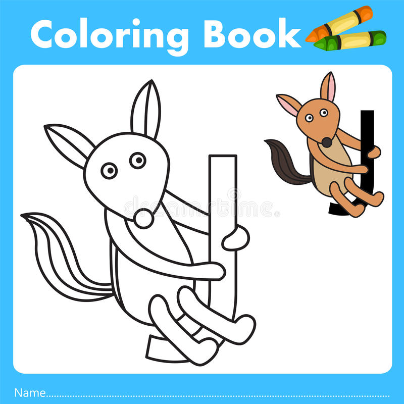 Illustrator of color book with jackal animal. Isolated for education vector illustration