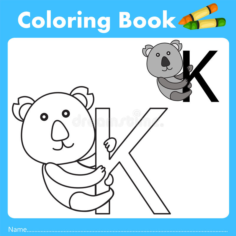 Illustrator of color book with koala animal. Isolated for education stock illustration
